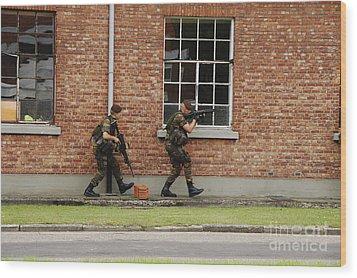 Belgian Soldiers On Patrol Wood Print by Luc De Jaeger