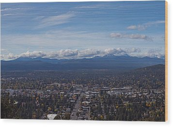 Bend Oregon From Pilot Butte Wood Print by Twenty Two North Photography