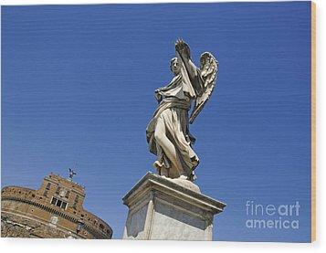 Bernini Statue On The Ponte Sant Angelo Wood Print by Bernard Jaubert