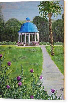 Wood Print featuring the painting Bev's Bandstand by Lyn Calahorrano