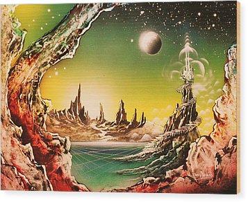 Beyond Earth Wood Print by Tony Vegas