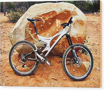 Bicycle Of Decrease In Mountains Wood Print by Jenny Senra Pampin