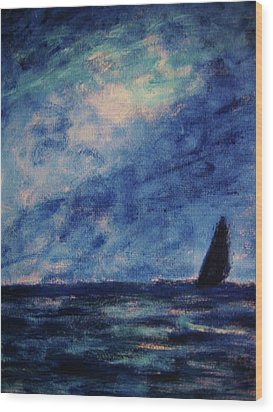 Wood Print featuring the painting Big Blue by John Scates