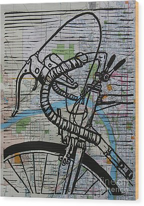 Wood Print featuring the drawing Bike 2 On Map by William Cauthern
