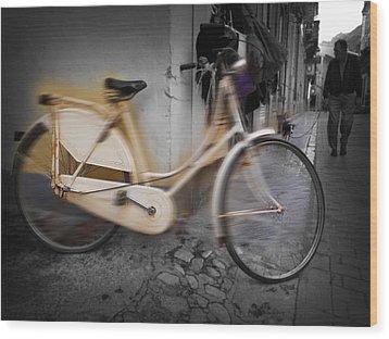 Bike Wood Print by Charles Stuart