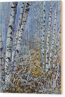 Wood Print featuring the painting Birches by Louise Peardon