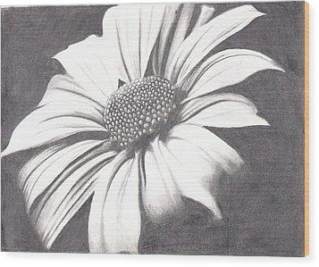 Black And White Flower Wood Print by Amanda Rhone