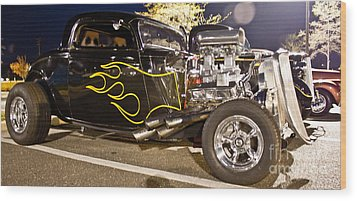 Black Hot Rod Big Engine Wood Print by Pictures HDR