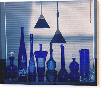 Blue Bottles Wood Print