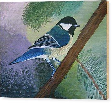 Blue Chickadee Wood Print by Angela Gale