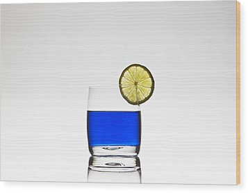 Blue Cocktail With Lemon Wood Print