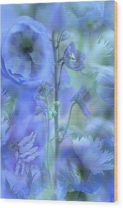 Blue Delphinium Wood Print by Bonnie Bruno
