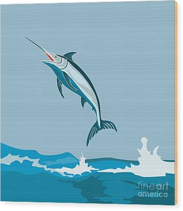 Blue Marlin Fish Jumping Retro Wood Print by Aloysius Patrimonio
