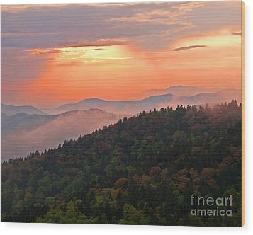 Blue Ridge Sunset Wood Print by Bob and Nancy Kendrick