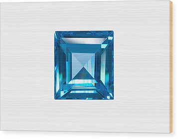 Blue Sapphire Isolated Wood Print by Atiketta Sangasaeng