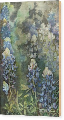 Wood Print featuring the painting Bluebonnet Blessing by Karen Kennedy Chatham