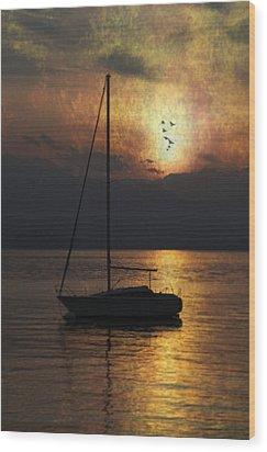Boat In Sunset Wood Print by Joana Kruse