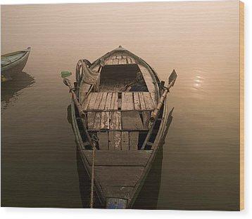 Boat In The Water, Varanasi, India Wood Print by Keith Levit