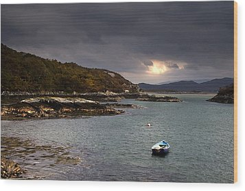Boat In Water, Loch Sunart, Scotland Wood Print by John Short