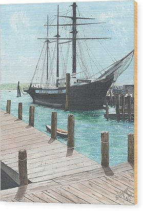 Wood Print featuring the painting Boat With A History by Stuart B Yaeger