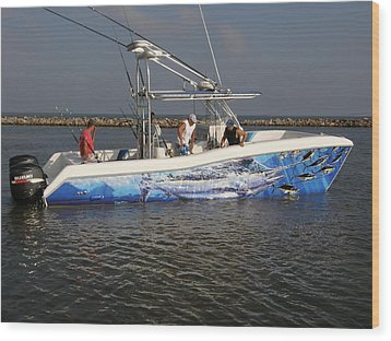 Boat Wrap Wood Print by Carey Chen