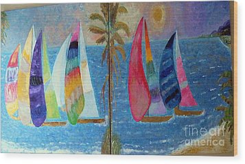 Boats At Sunset Wood Print by Vicky Tarcau