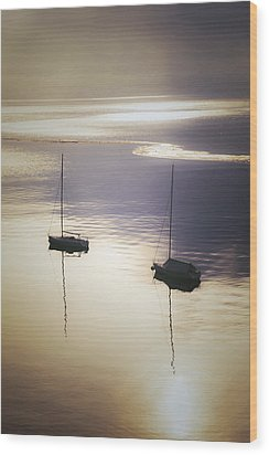 Boats In Mist Wood Print by Joana Kruse