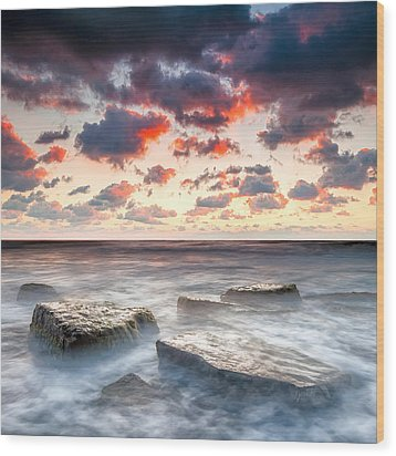 Boiling Sea Wood Print by Evgeni Dinev