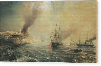 Bombardment Of Sale Wood Print by Jean Antoine Theodore Gudin