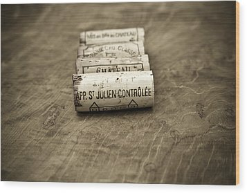 Bordeaux Wine Corks Wood Print by Frank Tschakert
