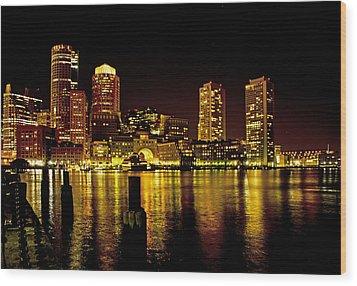 Boston At Night Wood Print by Gordon Ripley