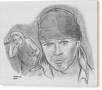 Wood Print featuring the drawing Bret Michaels by Chris  DelVecchio