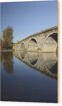 Bridge Over River Nore Bennettsbridge Wood Print by Trish Punch