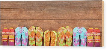 Brightly Colored Flip-flops On Wood  Wood Print by Sandra Cunningham