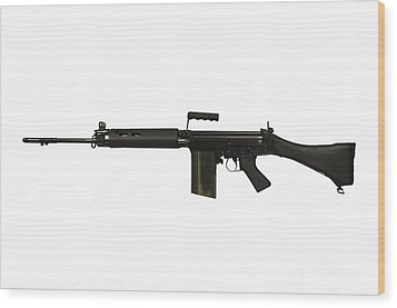 British L1a1 Self-loading Rifle Wood Print by Andrew Chittock