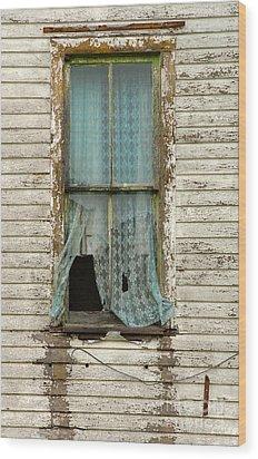 Broken Window In Abandoned House Wood Print by Jill Battaglia