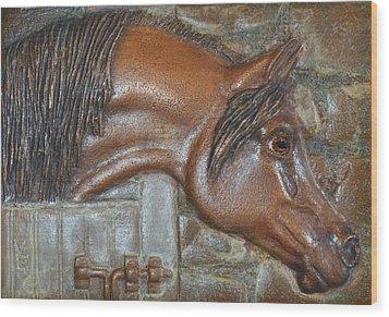 Bronze Arabian Horse Relief Wood Print by Valerie  Evanson