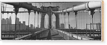 Brooklyn Bridge Wood Print by Peter Aitchison