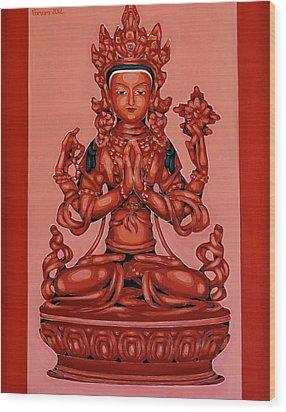 Buddha Of Compassion Wood Print by Varvara Stylidou