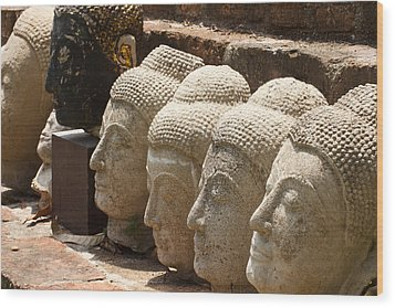 buddha statue in Thailand Wood Print by Thanawat  Wongsuwannathorn