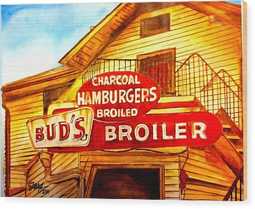 Bud's Broiler Wood Print by Terry J Marks Sr