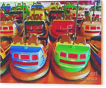 Bumper Cars Wood Print by Jerry L Barrett