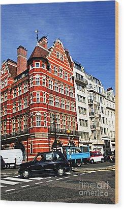 Busy Street Corner In London Wood Print by Elena Elisseeva