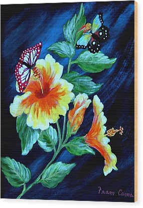 Butterflies And Blooms Wood Print by Fram Cama
