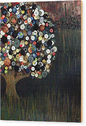 Wood Print featuring the painting Button Tree 0002 by Monica Furlow