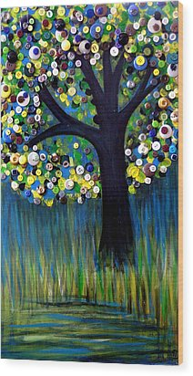 Wood Print featuring the painting Button Tree 0005 by Monica Furlow