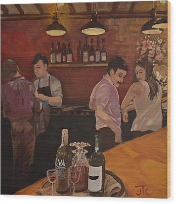 Cafe Wood Print by Julie Todd-Cundiff