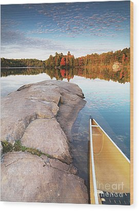 Canoe At A Rocky Shore Autumn Nature Scenery Wood Print by Oleksiy Maksymenko
