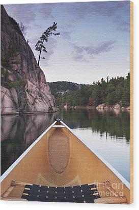 Canoeing In Ontario Provincial Park Wood Print by Oleksiy Maksymenko