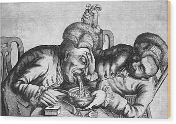 Caricature Of Two Alcoholics, 1773 Wood Print by Science Source